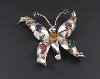 Sterling Silver Butterfly Brooch, Vintage 1940s, Silver Brooch, Rhinestone Brooch, Insect Brooch, Bug Brooch