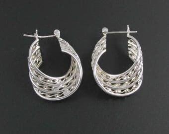 Sterling Silver Hoop Earrings, Twist Earrings, Sterling Earrings, Silver Hoop Earrings, Sterling Hoops, Medium Hoop Earrings