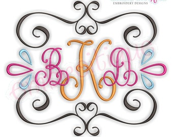 Curly Vintage Scroll Font Frame 1 -Instant Download Machine Embroidery Design