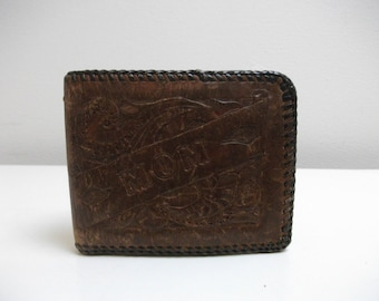 """Tooled 70's Leather """"Mom"""" Wallet with Desert Floral Motif"""
