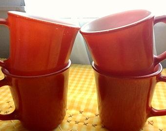 Pyrex Mugs Set Cinnamon Brown Milk Glass Coffee Cups D Handle