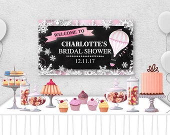"""Vinyl Welcome Banner, 36""""x20"""", 48""""x30"""", Hot Air Balloons, Snowflakes, Pink OR Blue, Baby or Bridal Shower, Birthday Party, Table Backdrop"""