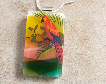 Parrot Fused Glass Pendant - Colorful Bird Jewelry - Nature Scene Necklace for Nature Lover - 64-15