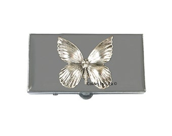 Butterfly Small Metal Pill Box Hand Painted Enamel in Grey Enamel Art Nouveau Inspired with Personalized and Color Options