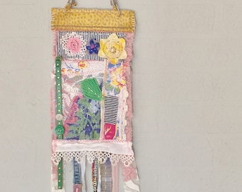 Hippie Prayer Flag Stay Wild Handmade Upcycled Spring Colors