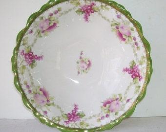 MZ Moritz Zdekauer Austria Bowl, Floral Bowl, Antique Porcelain Bowl, Antique MZ Bowl, Elegant Dish, Cottage Style, Victorian Era Bowl