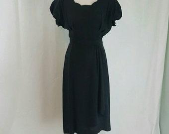 Vintage 1940s Black Scalloped WWII Dress M