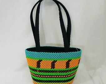 Vintage 1970s Beaded Blue Green Orange Large Bucket style Ethnic Tribal Purse