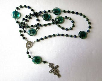 Blue and Green Franciscan Crown Rosary of Azurite with Saint Francis/ Saint Anthony Center and San Damiano Cross