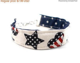 Sale Fabric Bracelet Stars and Stripes Reversible Bracelet Patriotic Jewelry Gift Ideas for Tweens Teens Tween Jewelry Teen Bracelet Hearts
