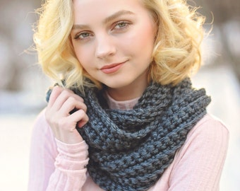 Dark Gray Scarf, Infinity Scarf, Crochet Scarf, Chunky Scarf, Women's Scarves, Winter Scarf, Gifts for Teen Girls, Soft Scarf, Made in USA