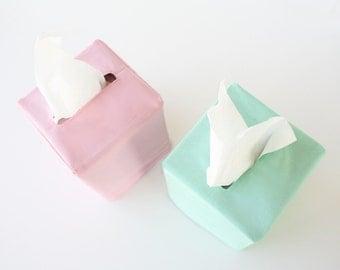 Cotton Tissue Box Cover •Custom Color Choice • Bedroom Decor