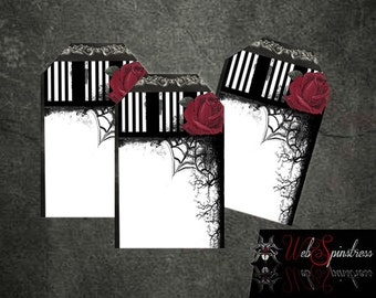 Printable Gothic Rose Wedding Favor Tags or Wishes Tree - Halloween Wedding / Red or Purple