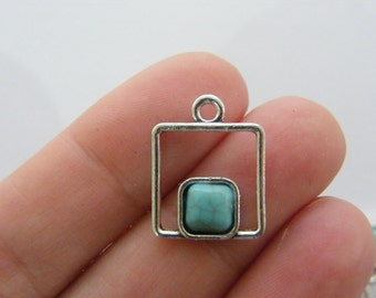 4 Square charms antique silver tone M899