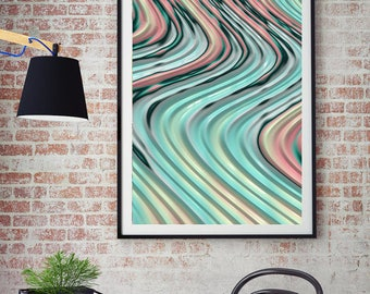 Abstract Fine Art Print - fractal art, curvy pastel lines,turquoise pink yellow peach aqua, wall decor, spring decor, home decor, housewares