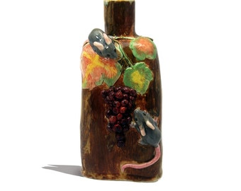 Rustic Mouse bottle vase ceramic hand crafted conversation piece grapes leaves Australian shop Anita Reay flask mouse figurine