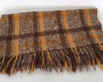 Vintage Donegal Design Plaid Mohair Throw Made in Ireland