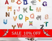 Sale - Wall Decal Kids Wall Stickers Kids Alphabet - Peel and Stick Wall Sticker