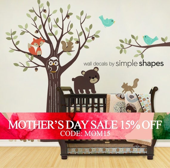 Mothers Day Sale - Wall Decals Nursery Tree with Forest Friend - Kids Wall Decals Nursery