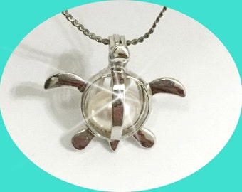 Sea Turtle pearl cage - Locket - Pendant - bead - gemstone - cage -necklace - setting - Top QUALITY not Chinese Junk!