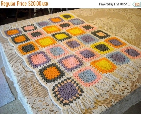 Shop Closing Sale Vintage Afghan Granny Square Lap Afghan Handmade