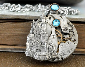 steampunk necklace - ONCE UPON a TIME - antique year 1900s Elgin watch movement necklace with castle and Swarovski aqua blue rhinestones