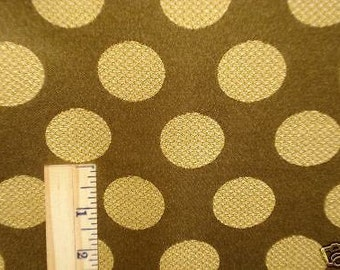 GOLD Olive Green Satin  POLKA DOT Upholstery Fabric, 08-57-09-057