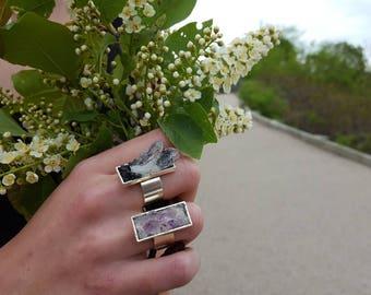 Raw Crystal Ring Quartz Ring Black Tourmaline Raw Statement Jewelry Statment Ring Druzy Ring Silver Chunky Ring Black Druzy Gift Women Boho