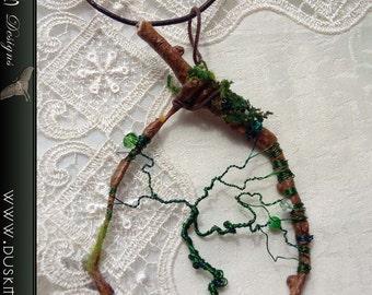 Green tree of life necklace - Goth, faeire, hippie, boho, pagan, dream catcher, fairy