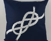 """Infinity Rope Pillow Cover, Embroidery, Nautical Pillow, Beach decor, Decorative Pillow, Accent Pillow, 18""""x18"""", Navy, Ready to ship"""