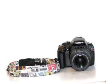 NEOPRENE THIN Camera Strap Vintage Camera design - Cross-body Length Pick Fabric CANON Nikon