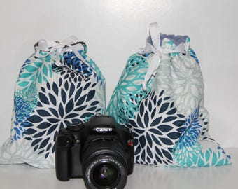 DSLR camera Drop in Bag - Pouch BLOOMS Canon Nikon GOPRO bag Blue