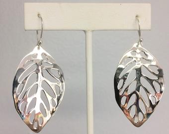 Sterling Silver Open Leaf Dangle Earrings