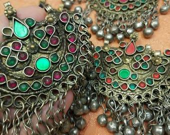 Set of 5 matching Vintage Bellydance charms pendant brass rhinestone