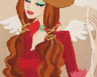 New Finished Completed Cross Stitch - Fashion Girl - Balloon - P45