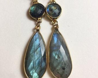 Labradorite earrings, Gemstone Earrings, Leverback earrings, Double Drop Dangle Earrings, Gold Earrings, Blue Green Stone