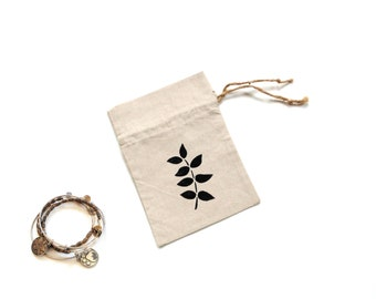 Linen gift bag, 5 x 7 inches drawstring hand stenciled pouch, jewelry travel bag,  bridesmaids shower favor reusable ecofriendly linen bag