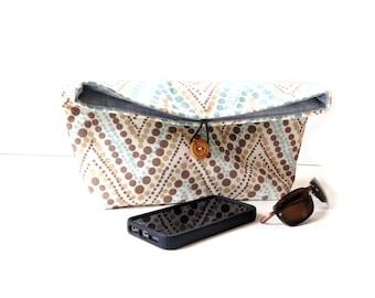 Fold over clutch purse, blue brown cream, polka dots, chevron, fold-over clutch bag, foldover purse, everyday handbag, pouch bag