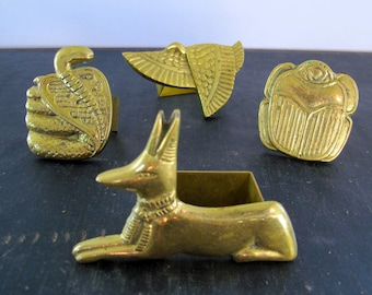 Napkin Rings 4 Treasures from Tuts Tomb Brass 1970s Egyptian Scarab Cobra Jackal Vulture Solid Brass