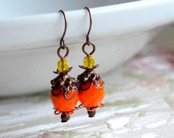Orange earrings Beaded jewelry Victorian earrings Orange jewelry Vintage earrings Dangle Earrings Bohemian jewelry Orange Boho earrings