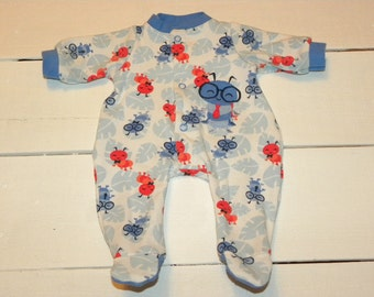 Blue and Red Caterpillar Patterned Footed Sleeper - 16 -18 inch boy doll clothes
