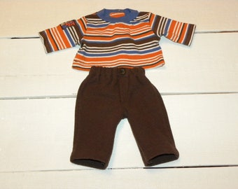 Brown Fleece Pants  and Striped Tshirt - 14 - 15 inch boy doll clothes