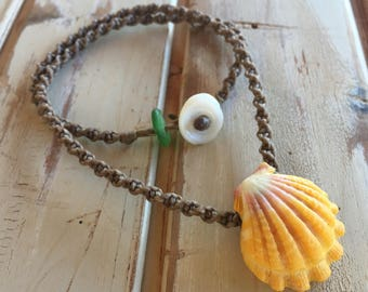 Classic sunrise shell with deep ridge and seaglass necklace