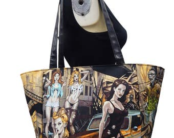 "USA Handmade Travel  Bag  Shoulder Bag Style With ""ZOMBIES""  Pattern HandBag Purse, Cotton, New"