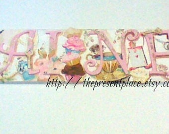 6 wooden letters,customized,room decor,alice in wonderland letters,tea party,girls letters,wall art,kids names,baby's name,cup cakes,teapot