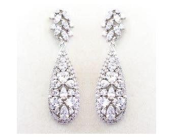 Crystal long Earrings, Rhodium Wedding Bridesmaid jewelry, Vintage style bridal earrings - Ella Earrings
