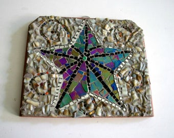 Mosaic Wall Hanging, Mosaic Wall Art, Starfish, Beach Theme, Sea Star, Sand, Ocean, Mosaic Star, Broken China, Stained Glass - 6.5x7 inches