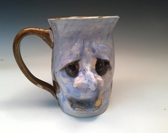 Large Purple Monster Face Mug Funny Southern Style Folk Art