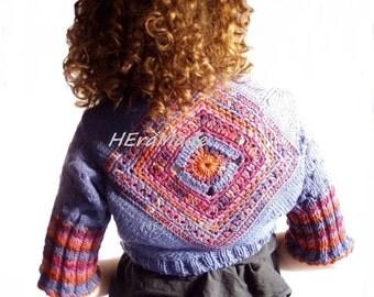 Customized fashion knit crochet wool feminine bolero shrug short cardigan boho chic mandala Freeform crochet