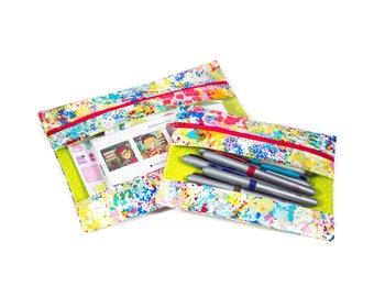 Barbara Zipper Pocket - Paintbrush - zipper bag, peek-a-boo, vinyl